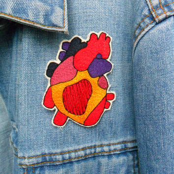 Anatomical Heart Embroidered Patch/Brooch by LeighLaLovesYou