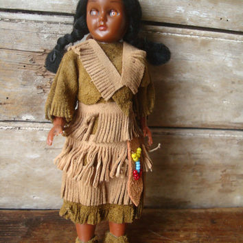 Vintage Skookum Native American Indian Suede Doll With Papoose