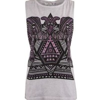 New Look Mobile | Grey and Purple Elephant Drop Arm Tank Top