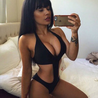 Fashion Solid color deep V one piece swimsuit