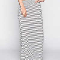 Full Tilt Skinny Stripe Maxi Skirt Black/White  In Sizes