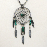 Malachite & Gunmetal Dreamcatcher Necklace with Feathers