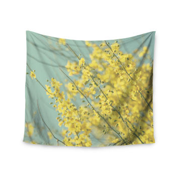 "Sylvia Coomes ""Yellow Blooms"" Yellow Blue Wall Tapestry"