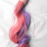 Sweetie Belle Two tone Pink and Purple Unicorn Horse My Little Pony Tail Cosplay, Curls at the Bottom