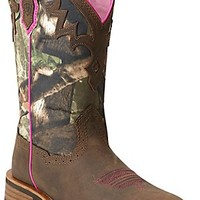 Ariat® Unbridled™ Women's Powder Brown with Camo Top Square Toe Western Boot