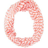Chevron Print Infinity Scarf by Charlotte Russe - Coral