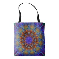 Peacock-colors romantic mandala ornament arabesque tote bag