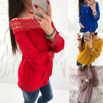 Women Lady Clothing Tops Loose Long Sleeve Chiffon Off Slash Shoulder Casual Blouse Shirt Tops Clothes Women