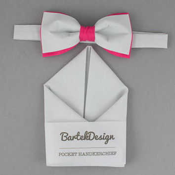 Gray Matching Set Gray Pink Bow Tie Gray Pocket Square Gray Bow Tie Gift for Men Wedding Bow Ties Bright Pink BowTie Groomsmen Bow Ties