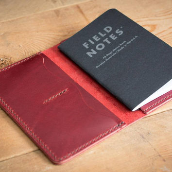 Cherry Leather Field Notes Cover with Pockets