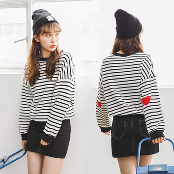 Striped College Wind Heart Embroidered Loose Causal Basic Female Thin Sweatshirt