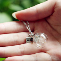 Make A Wish Glass Bead Orb Silver plated Necklace Jewelry