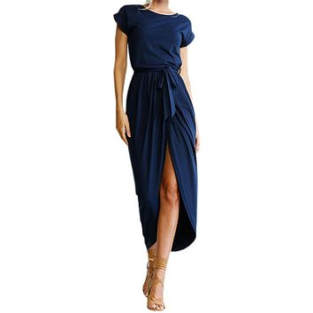 Bho Maxi Dress Sexy Open Slit Women Long Dresses Loose Solid Summer 2017 New Casual Dress Short Sleeve Plus Size Vestido GV718