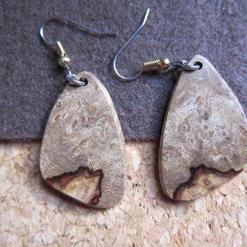 Unique Amboyna Burl Dangle Earrings, Exotic Wood Handcrafted ExoticwoodJewelryAnd
