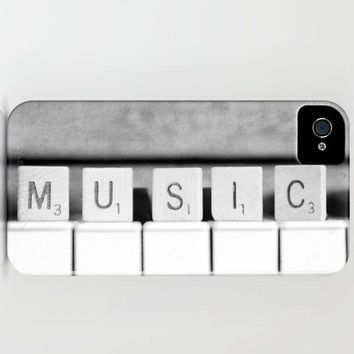 Music iPhone 5 case Scrabble Piano keys Black and White Fine Art Photography Phone cover accessory Musician Pianist gift