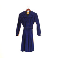 Long Sleeve Blue Pleated Dress, Dark Blue Vintage Dress, Slim Fit Formal Vintage Dress With Collar And Belt