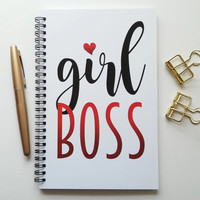 Writing journal, spiral notebook, bullet journal, cute notebook, diary, sketchbook, blank lined or grid paper - Girl boss