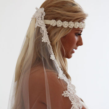 Bridal headband, bridal sash, Pearl headband, Ivory headband, bridal hair accessory, wedding hair accessory