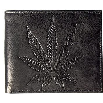 Unique Marijuana Leaf Embossed Distressed Antique Leather Bifold Slim Wallet