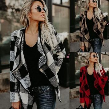Womens Fashion Lattice Cardigan Coat +Gift Necklace