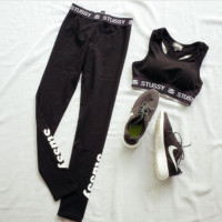 """STUSSY""Letters printing brief paragraph show hilum sport suit fitness yoga running vest leggings"