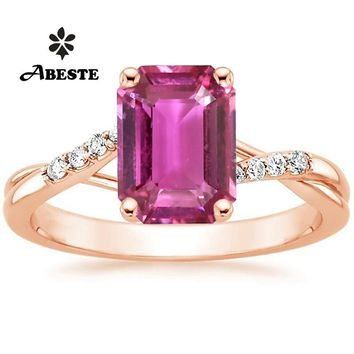 ANI 18K Rose Gold (AU750) Women Wedding Ring Certified Natural Pink Sapphire Pear/Oval/Rectangle Shape Bague Real Diamond Ring
