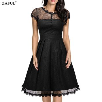 ZAFUL New Black Women Retro Dress Audery Vintage Elegant 1950S 60S Short Sleeve Big Hem Lace Party Dresses Feminino Vestidos