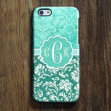 Green Damask Floral Monogram iPhone 6s Case iPhone 6 plus Case Custom Initials iPhone 5S Case iPhone 5 Case iPhone 4 Case Galaxy S6 Case 107