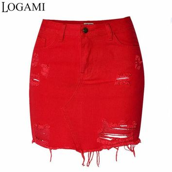 LOGAMI High Waist Denim Skirts Womens Mini Pencil Jeans Skirt Spring Summer Ripped Sexy Women Skirt Red