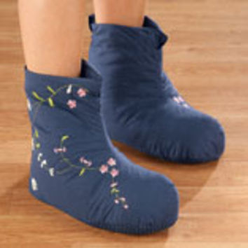Embroidered Down Slippers