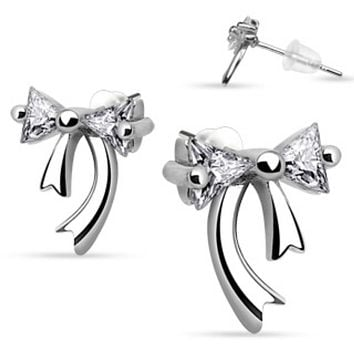 Pair of .925 Sterling Silver Double Gem Ribbon Stud Ear WildKlass Rings (Sold as a Pair)