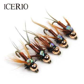 ICERIO 12PCS Copper John Fly Brass Head Nymph Stone Fly Fishing Trout Bait #12