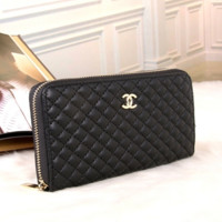 Black CHANEL LEATHER PURSE WALLET