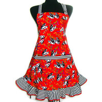 Retro Kitchen Apron, Theater Masks on Red, Hostess Style Ruffle