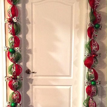 Christmas Garland - Pre-lit Christmas Garland - Red Green Garland - Holiday Decor - Christmas Decoration - Holiday Decoration