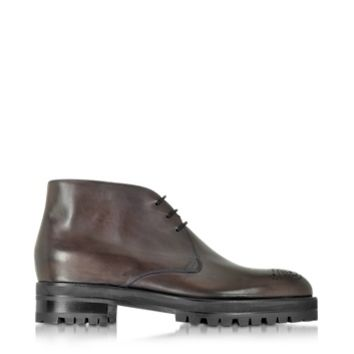 Fratelli Rossetti Designer Shoes Dark Brown Leather Ankle Boot