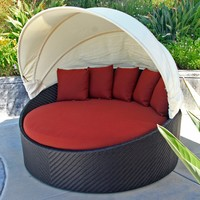 Harmonia Living Wink Wicker Curved Outdoor Daybed with Red Sunbrella Cushion (SKU HL-WINK-CB-DB-HN)