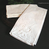 Vintage Odd Linens, 2 Napkins and Tea Towel with Cutouts / Applique / Embroidery