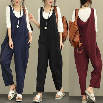 Celmia Womens Fashion Round Neck Sleeveless Cotton Linen Jumpsuits Overalls Loose Trousers