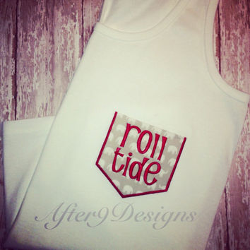 Woman's Custom Monogram Pocket Tank Topcolors by AfterNineDesigns
