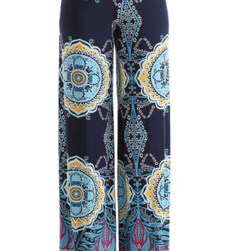 Vintage Print Palazzo Pants - Light Blue, Pink, and Navy