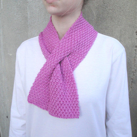 Knitting Pattern For Pull Through Scarf : Pull Through Scarf, Orchid Pink, Hand from Girlpower on Etsy
