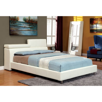 Furniture of America Jennison White Leatherette Dual Adjustable Headboard Low Profile Bed