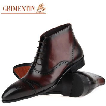 Italian Genuine Leather Men Ankle Boots