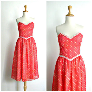 Vintage 70s Gunne Sax Dress / 70s dress / polka dot dress / full skirt dress / holiday fashion / medium