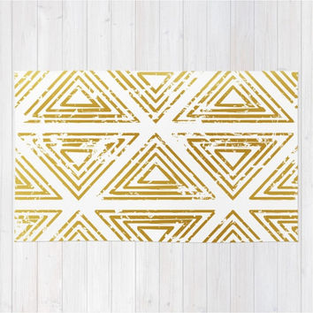 Gold Area Rug Triangles Throw Woven Rectangle Geometric Tribal Modern Home Decor