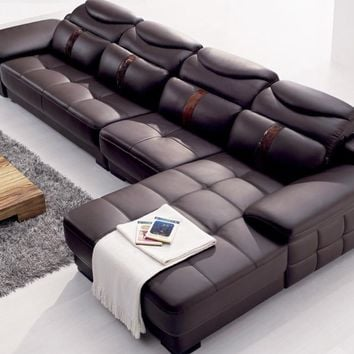Modern Italy Genuine Real Leather Sectional  Corner Furniture