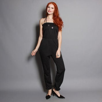 70s DISCO Rhinestone JUMPSUIT / Fitted Black Strappy Romper, xs-s