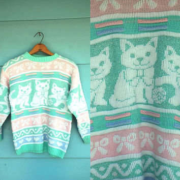 1980s. pastel & glitter cat with bows sweater. s-l