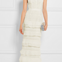 Self-Portrait - Penelope tiered crepon-trimmed guipure lace gown